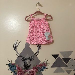 Carters | Pink and White dress w/ Cat